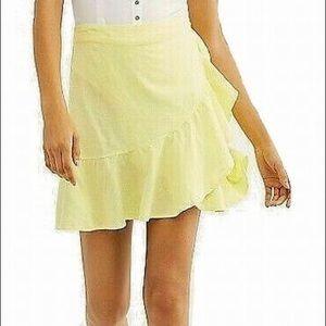 NWT Free People Linen Lemon  Mini Skirt Size 4